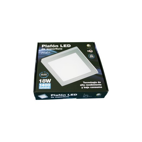 Plafón led empotrable 18W plata